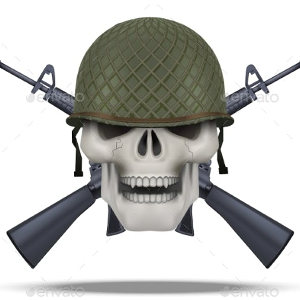 Skull with Rifles USA Label
