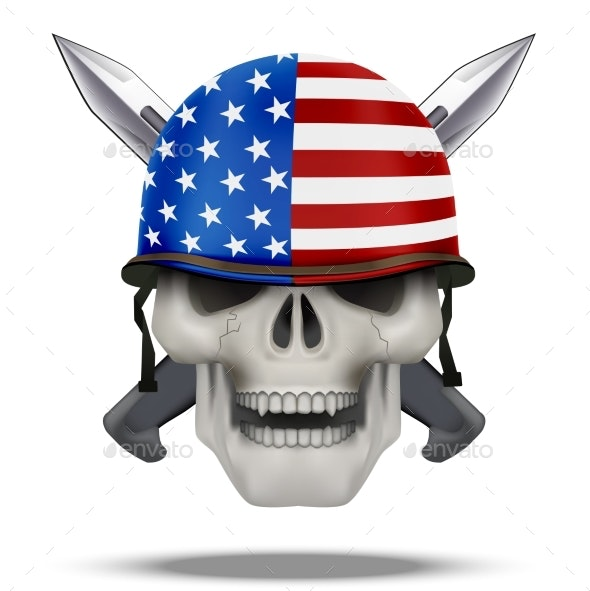 Skull with Knife USA Label - People Characters