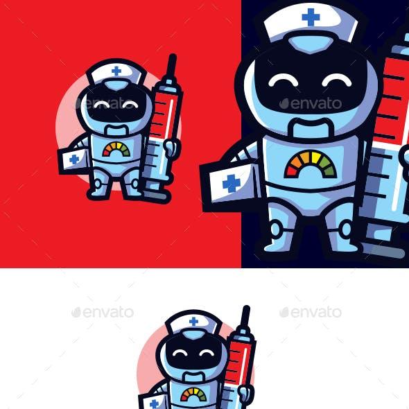 Cartoon Nurse Robot Mascot Logo
