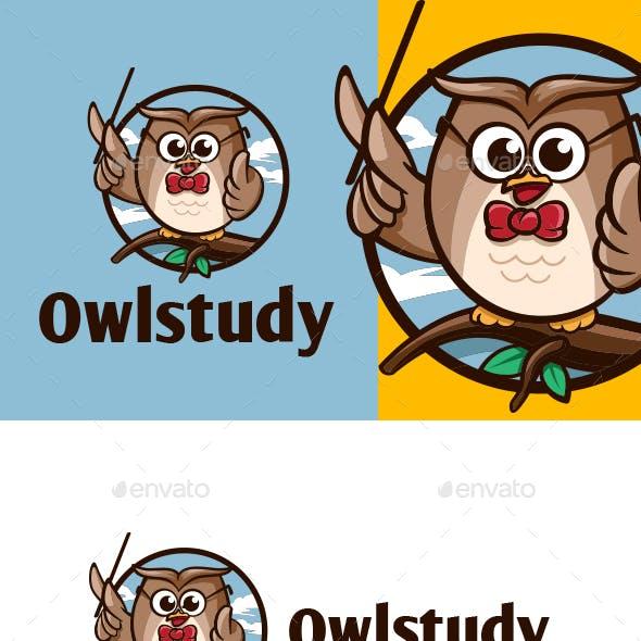 Cartoon Owl Study Character Mascot Logo