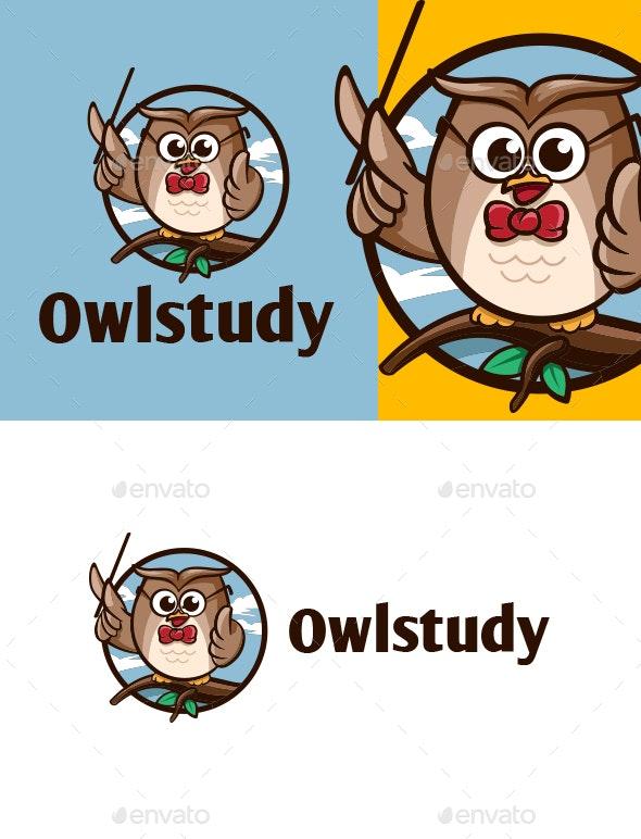 Cartoon Owl Study Character Mascot Logo - College Logo Templates