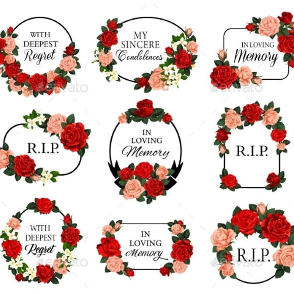 Funeral Frames with Roses Flowers and Condolences