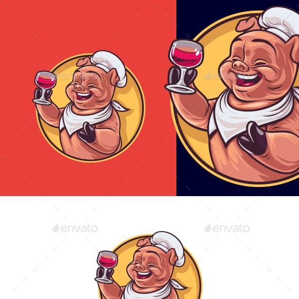 Cartoon Pig Chef - Grill & Wine Restaurant Logo Templates
