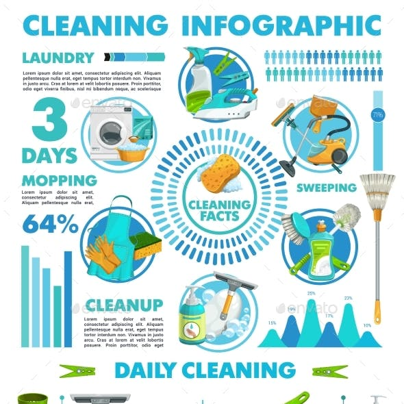 Cleaning Infographics Vector Statistics Charts
