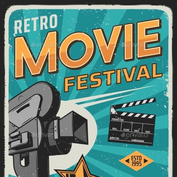 Movie Cinema Film Festival Retro Poster Camera