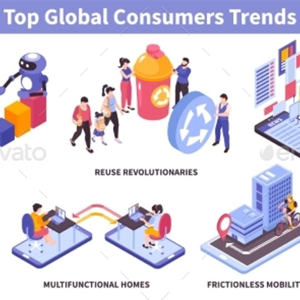 Isometric Consumer Trends Set