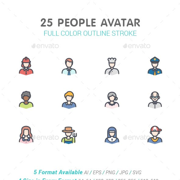 People Avatar Line with Color Icons