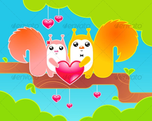 Cute Red Forest Squirrels - Animals Characters