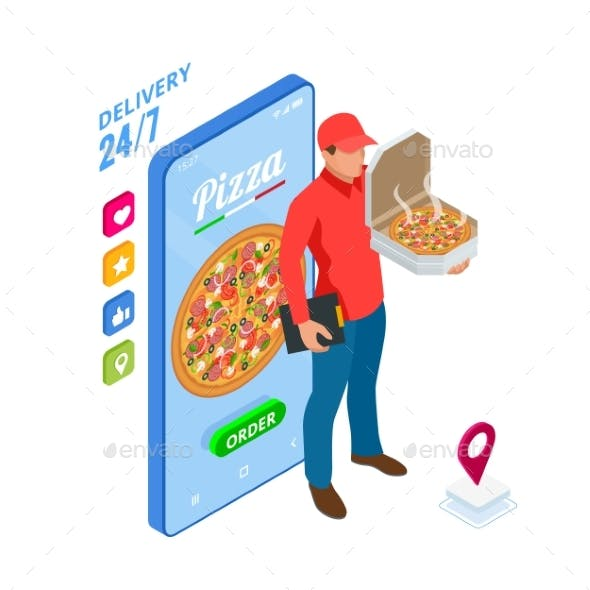 Isometric Online Pizza Order Mobile App Templates