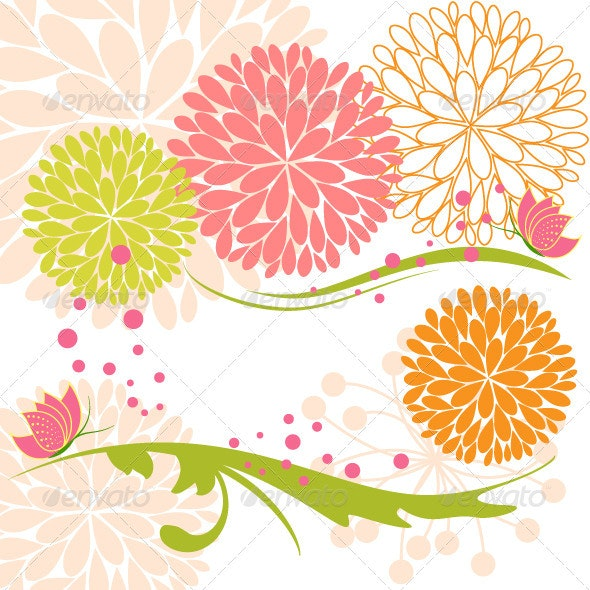 Colorful Flower and Butterfly - Backgrounds Decorative