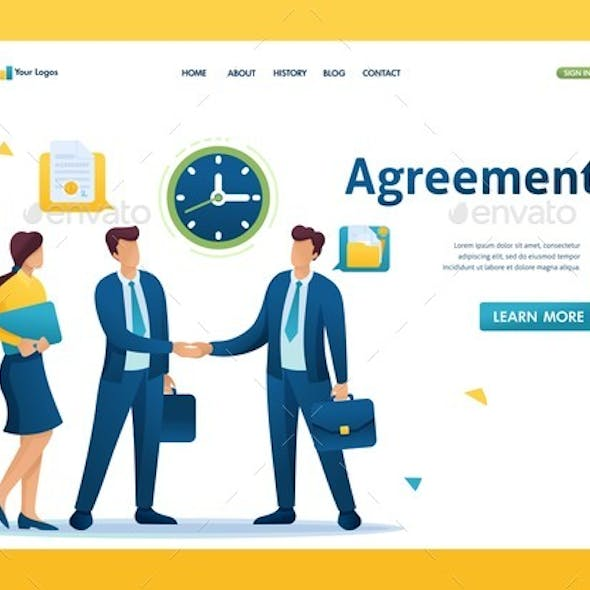 Businessmen of Large Companies Sign an Agreement