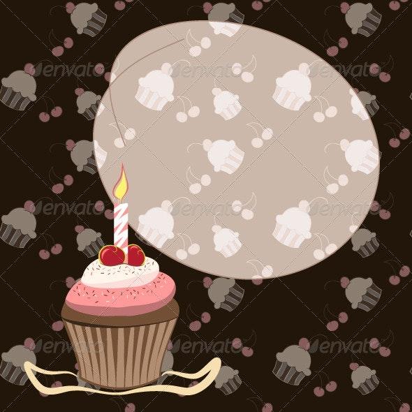 Cherry Cupcake with Candle  - Birthdays Seasons/Holidays