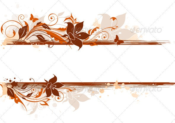 Floral Background with Tulip and Ornament - Backgrounds Decorative