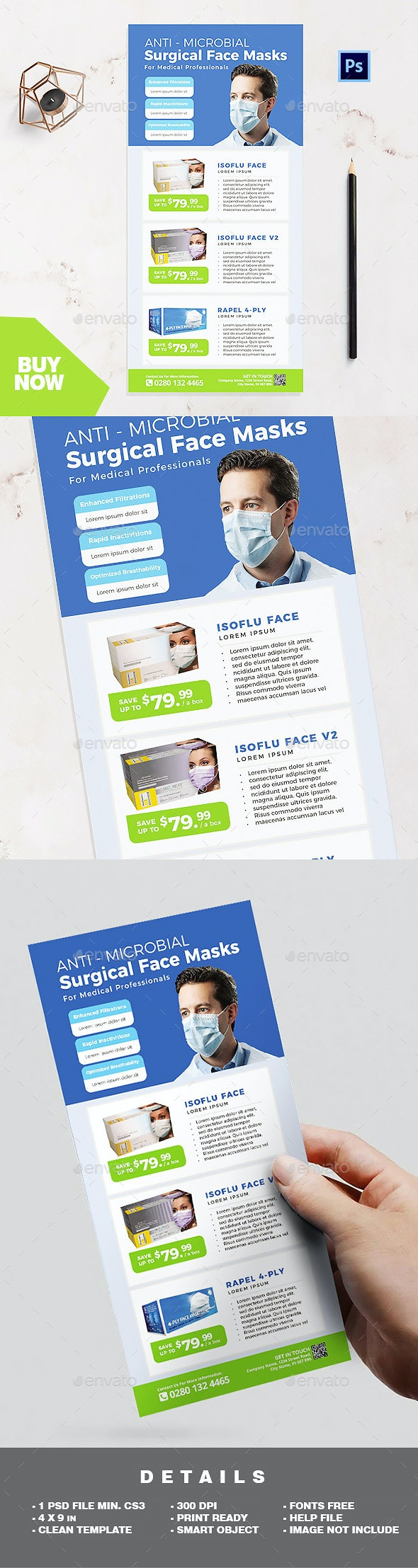 Rack Card Template - Medical Disposable Face Masks / Surgical Masks - Corporate Flyers