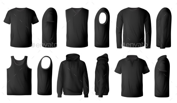 Mens TShirt Pullover and Hoodie Realistic Mockup - Man-made Objects Objects