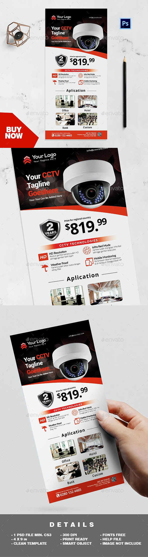 Rack Card Template - CCTV Product Promotion Flyer - Corporate Flyers