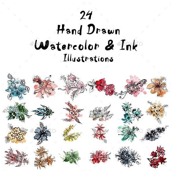 24 Hand Drawn Watercolor & Ink Illustrations