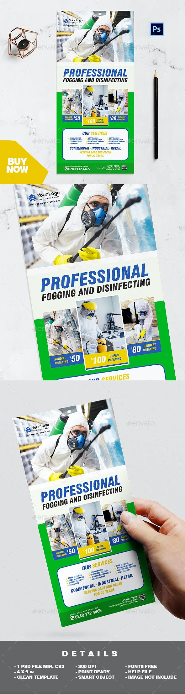 Rack Card Template - Professional Disinfecting and Cleaning Services Flyer - Corporate Flyers