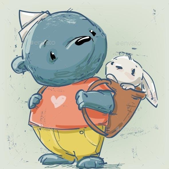 Cute Cartoon Teddy Bear with Little White Hare