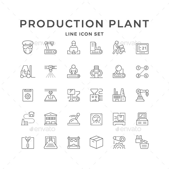 Set Line Icons of Production Plant - Man-made objects Objects