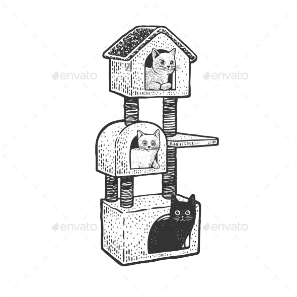 Cat House Sketch Vector Illustration
