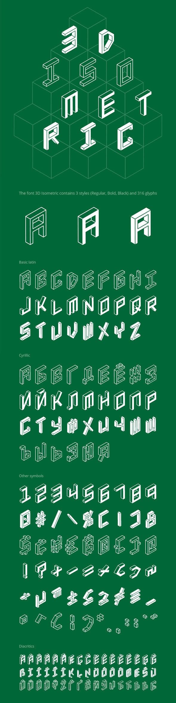3D Isometric Font - Futuristic Decorative