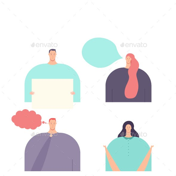 People Vector Flat Character Set.