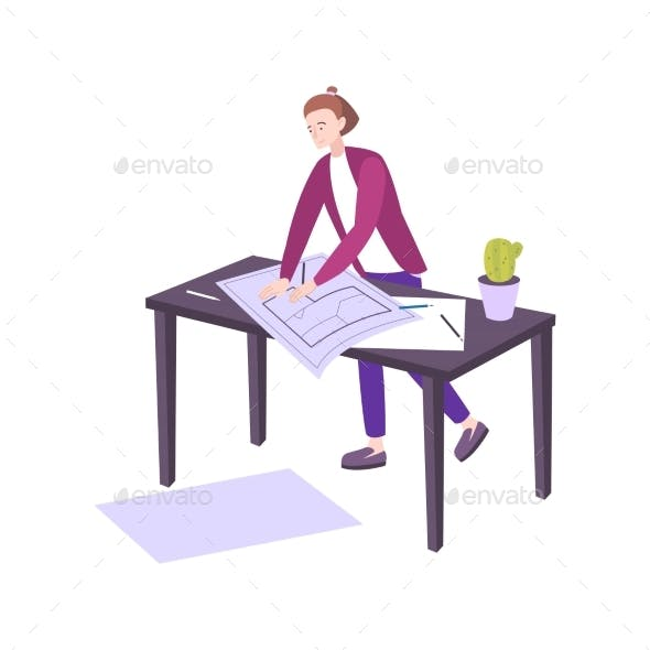 Interior Designer Flat Illustration