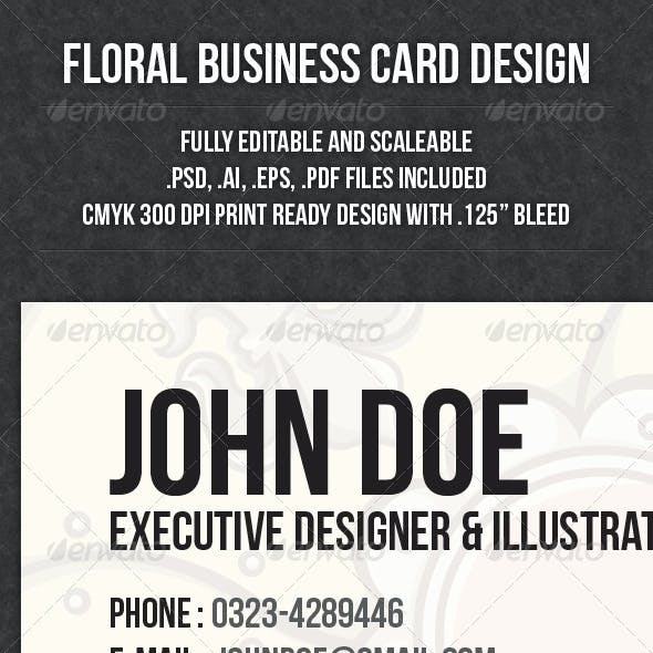 Floral Business Card Design With Stylish Look
