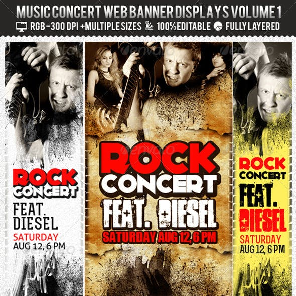 Concert & Event Web Banners & AD Kit PSD