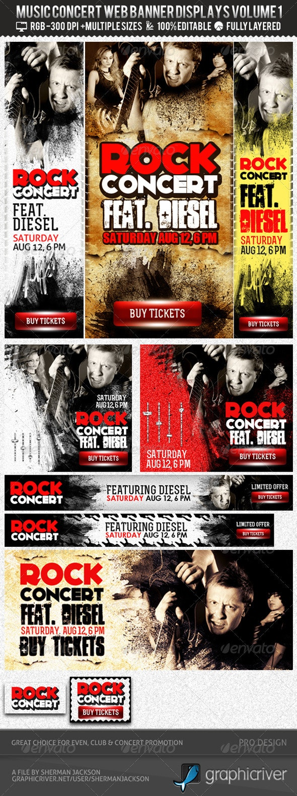 Concert & Event Web Banners & AD Kit PSD - Banners & Ads Web Elements