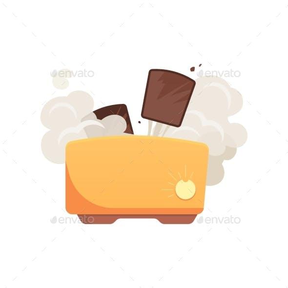 Flat Broken Toaster Icon