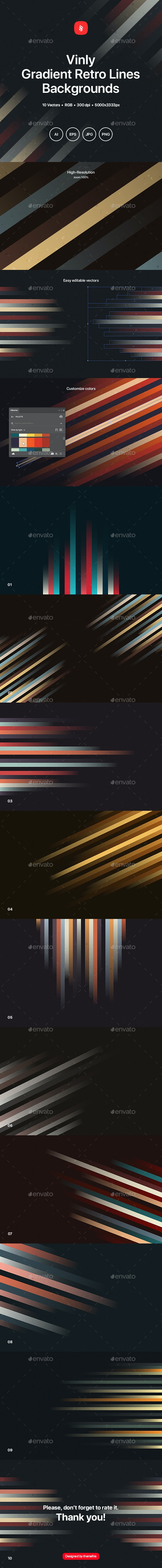 Vinly - Gradient Retro Lines Backgrounds - Abstract Backgrounds