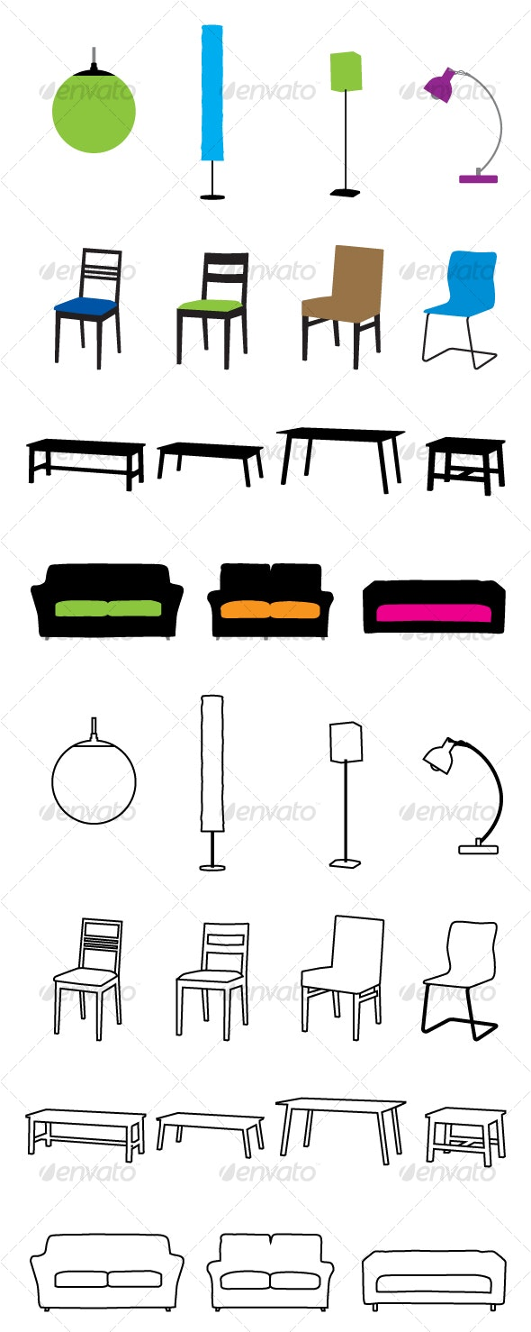 furniture silhouette - Man-made Objects Objects