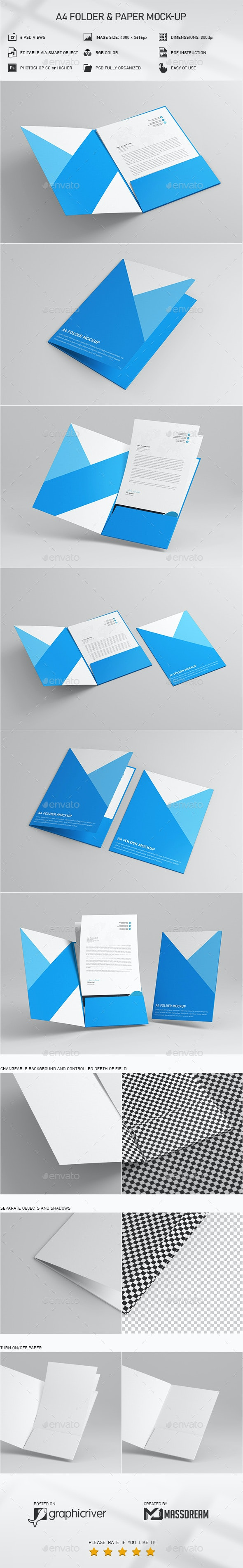 A4 Folder and Paper Mock-Up - Product Mock-Ups Graphics