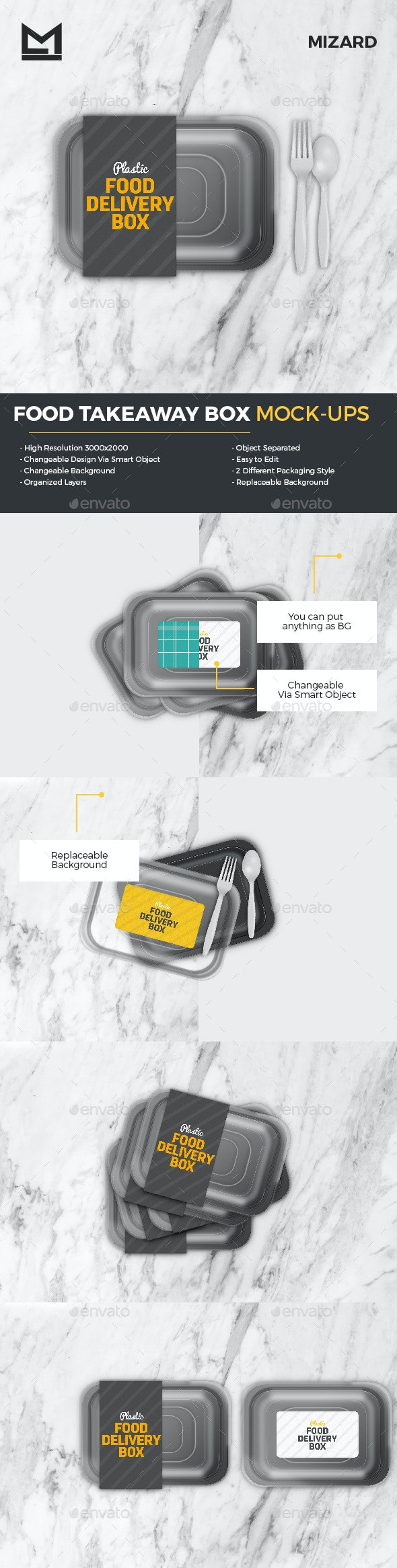 Disposable Food Takeaway Delivery Box Mockup - Food and Drink Packaging
