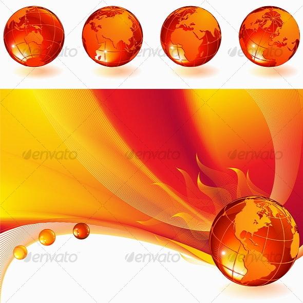 burning globe - Abstract Conceptual