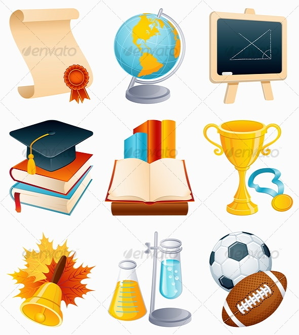 Education icon set - Objects Vectors