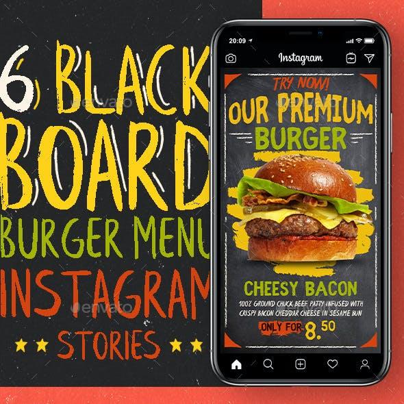 Blackboard Burger Menu Instagram Stories