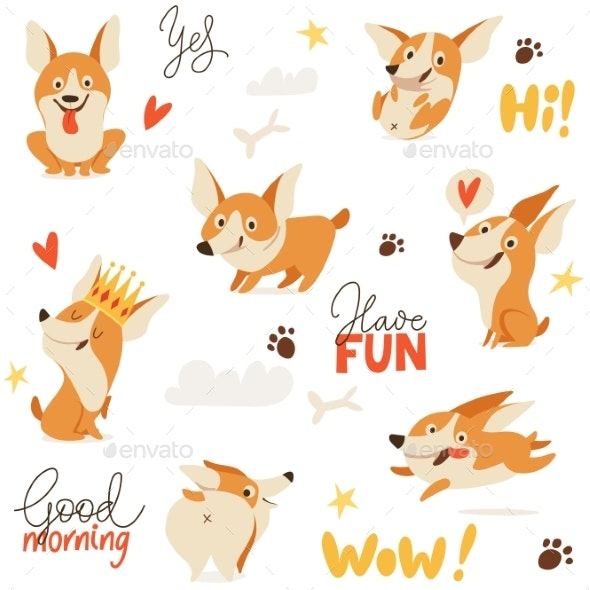 Seamless Background with Welsh Corgi Dog - Animals Characters