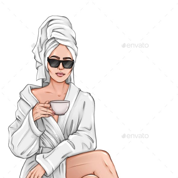 Beautiful Hand Brunette Woman with Cup of Tea in