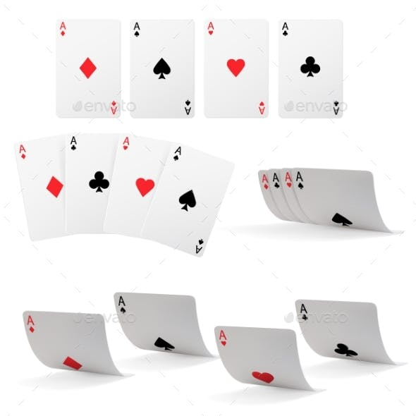 Casino Poker Ace Playing Card Falling Isolated Set