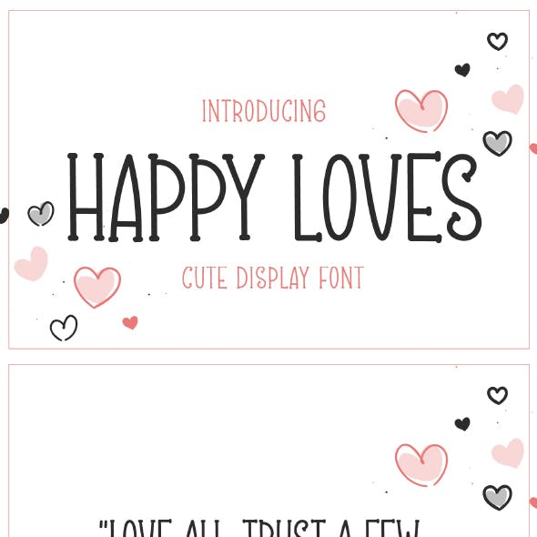 Happy Loves - Cute Display Font