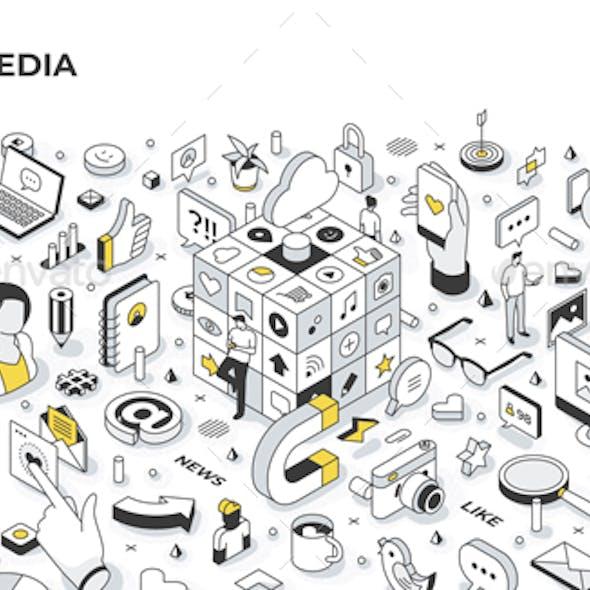 Social Media Isometric Banner Illustration