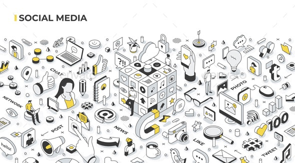 Social Media Isometric Banner Illustration - Communications Technology