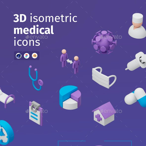3D Isometric Medical Icons