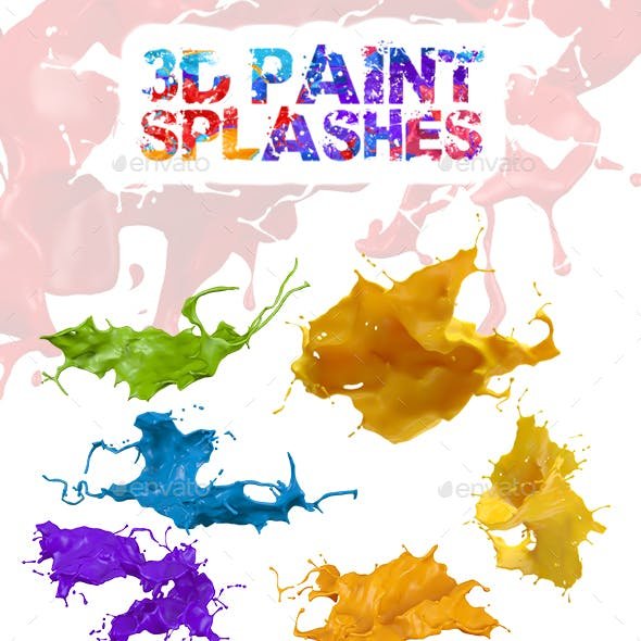 3D Paint Splashes with Transparent Background