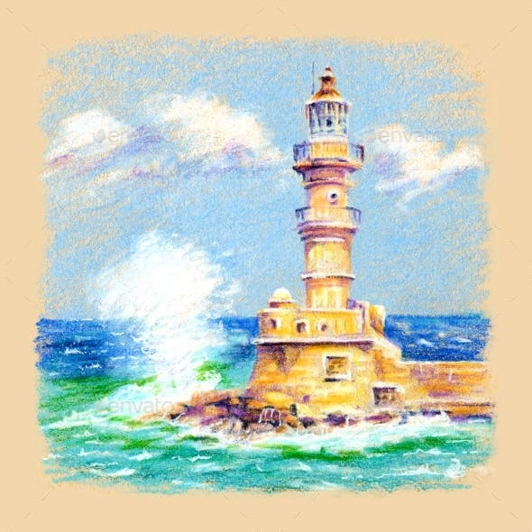 Lighthouse in Chania Crete Greece