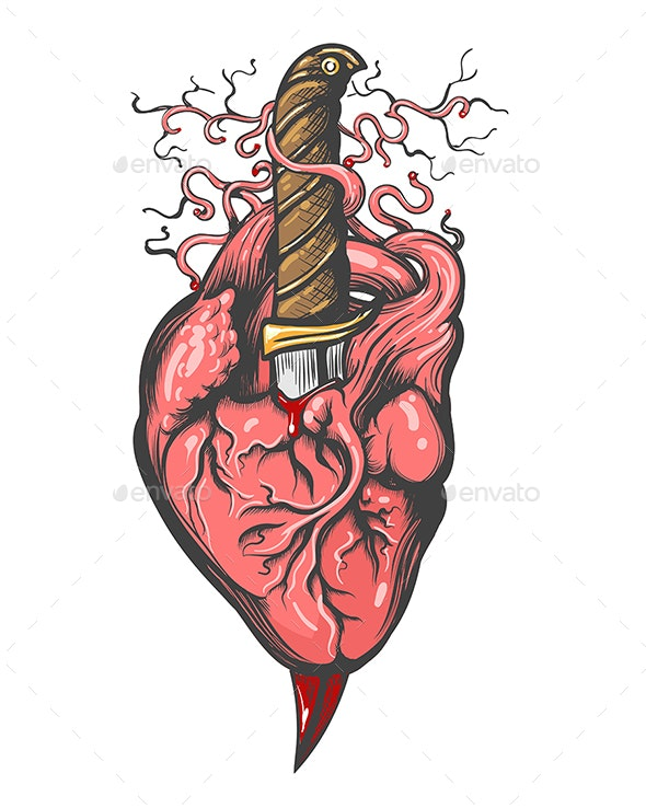 Human Heart Pierced by Knife Tattoo - Tattoos Vectors