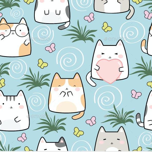 Seamless   Kawaii Cats Pattern